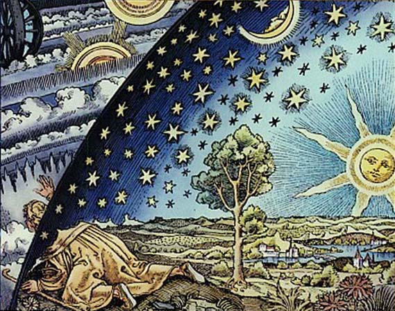 Renaissance-era woodcut portraying an adventurer breaking through to become aware of a new  concept of the universe that breaks through the conceptual boundaries of the crystalline sphere.
