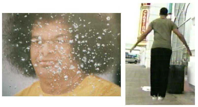 Sai Baba materializing sacred ash (left), David  Blaine levitating (right)
